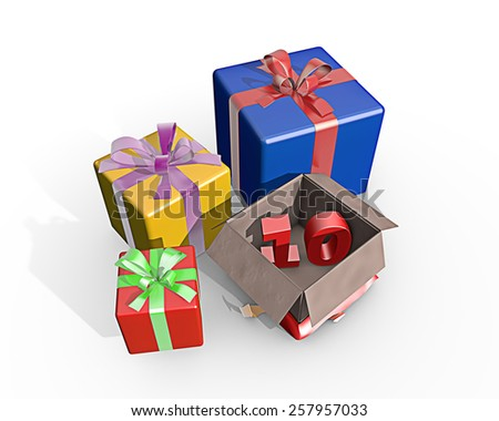Colorful presents and in the unpacked box a three dimensional number 10 - stock photo