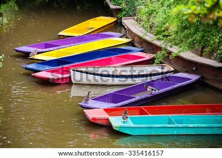 Colorful punts on the river Cherwel. Oxford, Oxfordshire, England - stock photo