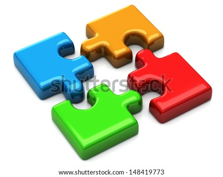 Colorful puzzle icon 3d - stock photo