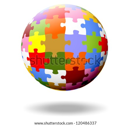 colorful puzzle pieces as a ball - stock photo