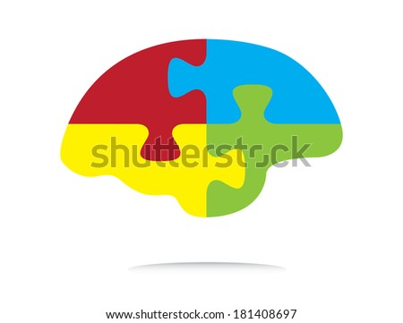 Colorful puzzle shaped brain, abstract illustration. - stock photo