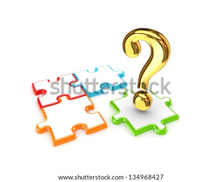 Colorful puzzles and red query mark.Isolated on white background.3d rendered. - stock photo