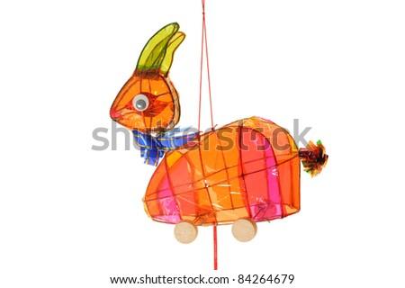 Colorful Rabbit Lantern on white Background - stock photo