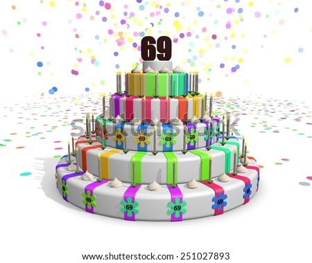 Colorful rainbow cake. Confetti falling down. Decorated with flower candies, candles and cream. On top a chocolate number 69. Ideal for invitations for someones birthday or anniversary - stock photo