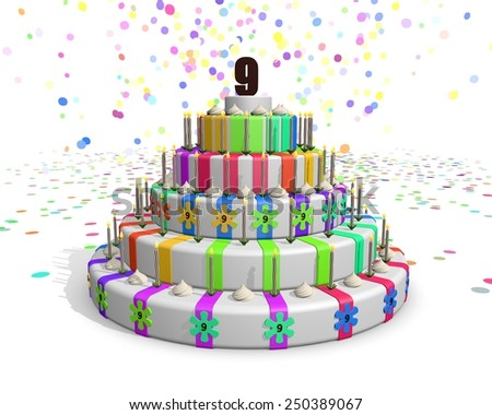 Colorful rainbow cake - on top number 9 - stock photo
