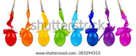 colorful rainbow easter egg color splash row with paintbrushes - stock photo