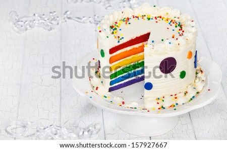 Colorful rainbow layered birthday cake decorated with polka dots, sprinkles and buttercream icing. - stock photo