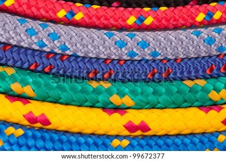 colorful rainbow ropes - stock photo