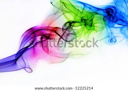 Colorful Rainbow Smoke on Black Background - stock photo