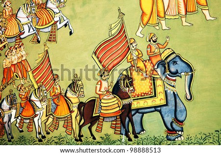 Colorful Rajput Indian mural painting in the fort of Jodhpur, Rajasthan - stock photo