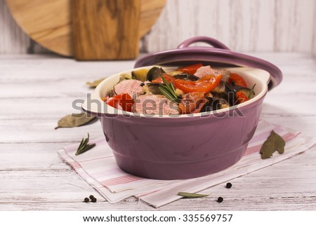 Colorful ratatouille with veal steak. Selective focus - stock photo