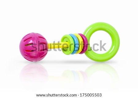 Colorful rattle baby toy isolated on white - stock photo