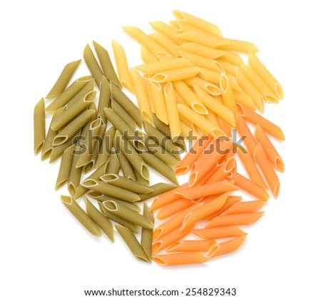 colorful raw italian pasta on white background - stock photo