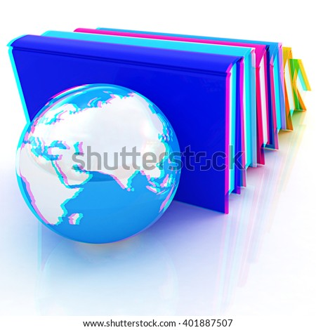 colorful real books and Earth. Anaglyph. View with red/cyan glasses to see in 3D. - stock photo
