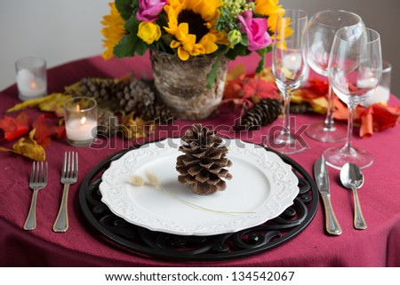 Colorful Reception Table Setting - stock photo