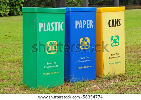 Colorful Recycle Bin In The Park - stock photo