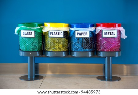 Colorful Recycle Bins in a Public place - stock photo