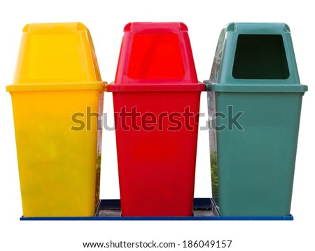 Colorful recycling bins - stock photo