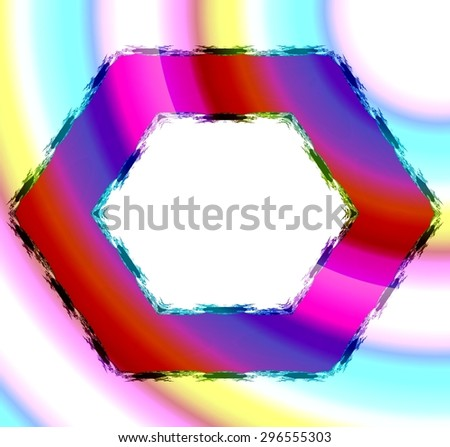 Colorful red blue pink orange hexagonal frame with fractal hem on soft fine yellow turquoise pink background. Middle clear white space for your content.  - stock photo