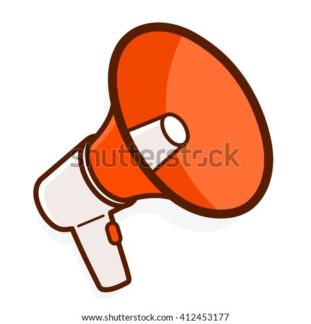 Colorful red megaphone or bullhorn for amplifying the voice for protests rallies or public speaking isolated on white, illustration - stock photo