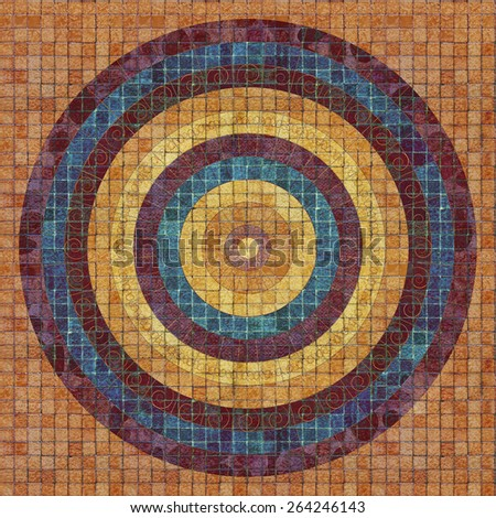 Colorful repeating circular pattern on tiles - illustration on tiling texture. - stock photo