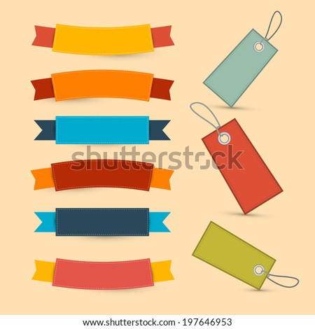 Colorful Retro Ribbons, Labels Set - stock photo
