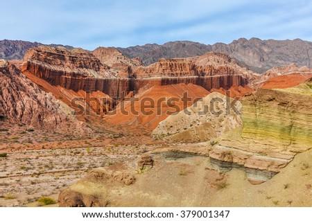 Colorful rock formations in the Quebrada de las Conchas near Cafayate, Salta Province, Argentina - stock photo