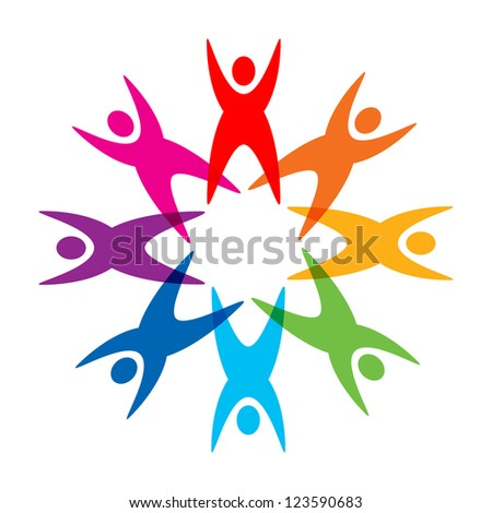 colorful round people icon - stock photo