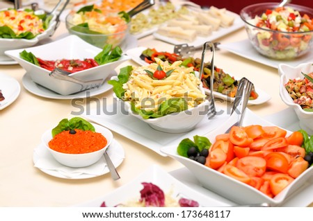 Colorful salads on the table  - stock photo