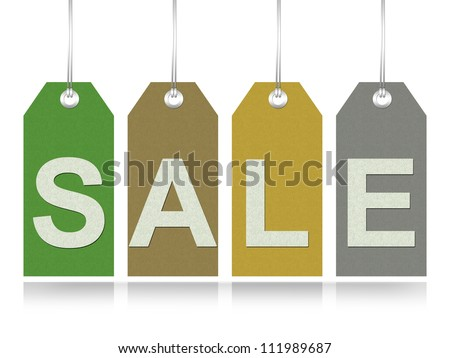 Colorful Sale Tag Made From Recycle Paper for Promotion and Sale Season Campaign Isolated on White Background - stock photo