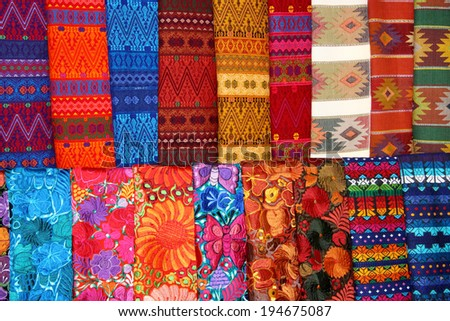 Colorful scarves at the market - stock photo