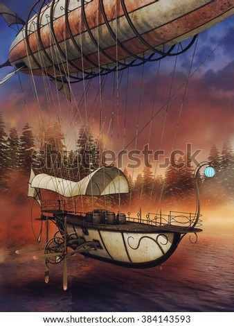 Colorful scenery with a fantasy aircraft over a lake in the forest - stock photo