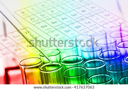 colorful science laboratory test tubes - stock photo