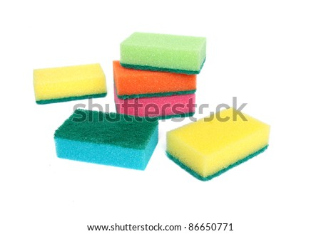 Colorful scourers isolated on a white background. - stock photo