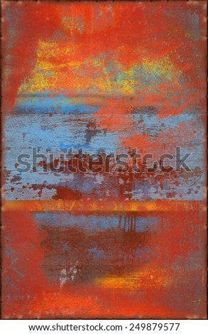 Colorful Scratched Texture with Rusty Seams Along Edges (Part of Colorful Metal Textures set, which includes 12 textures that fit together perfectly to form a huge image) - stock photo