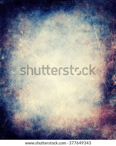Colorful Scratched Vintage Grunge Background With Faded Central Area For Your Text Or Picture - stock photo