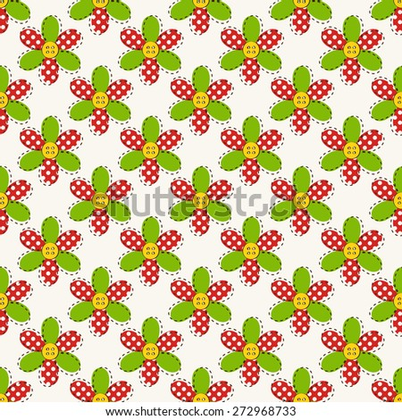 Colorful seamless pattern with fabric flowers. Raster background.  - stock photo
