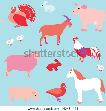 Colorful seamless pattern with farm animals. Raster version. - stock photo