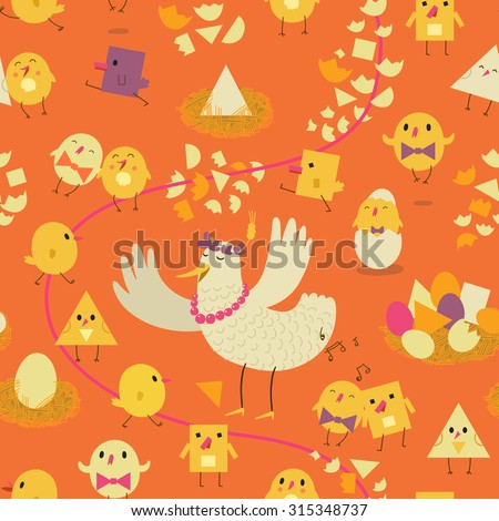 Colorful seamless pattern with the stylized hen, chicken and eggs. Children illustration - stock photo