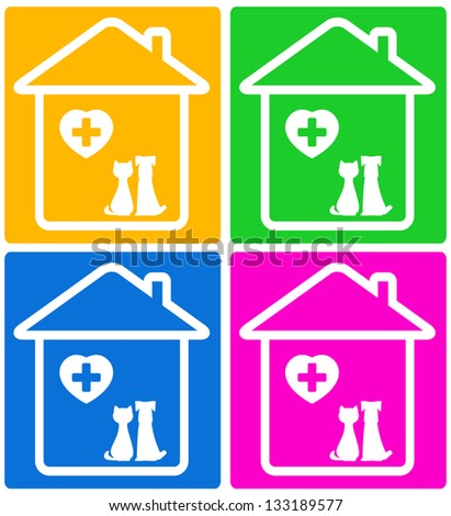 colorful set background for veterinary symbol with pet silhouette - stock photo