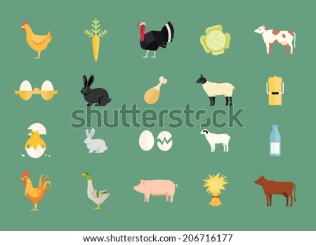 Colorful set of farm animals and produce with hen and egg  carrot  turkey  cabbage  dairy and beef cows  rabbit  sheep  milk can  duck  pig  hay chicken  rooster and goat - stock photo