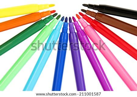 Colorful Set of Felt Pens, Isolated on White Background - stock photo