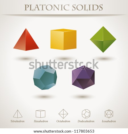 Colorful set of geometric shapes, platonic solids (vector also available) - stock photo