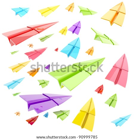 Colorful set of glossy paper airplanes isolated on white - stock photo