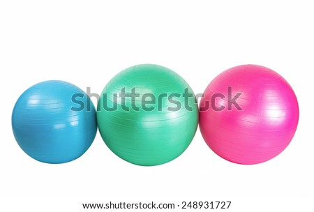 Colorful set of workout balls  for health club - stock photo