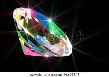 Colorful shining diamond on black background - stock photo