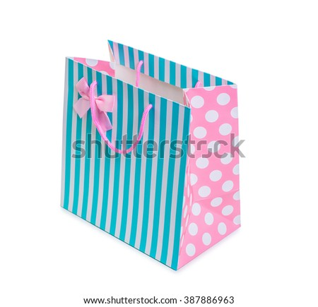 Colorful shopping bag isolated on white - stock photo