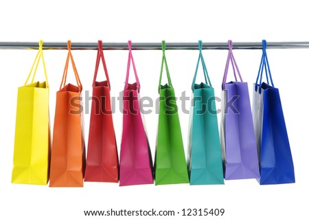 Colorful Shopping Bags on white background - stock photo