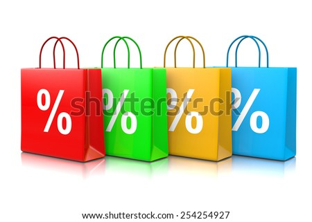 Colorful Shopping Bags Series with Percentage Sign Isolated on White Background 3D Illustration, Discount Concept - stock photo