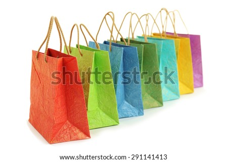 Colorful shopping paper bags isolated on white - stock photo